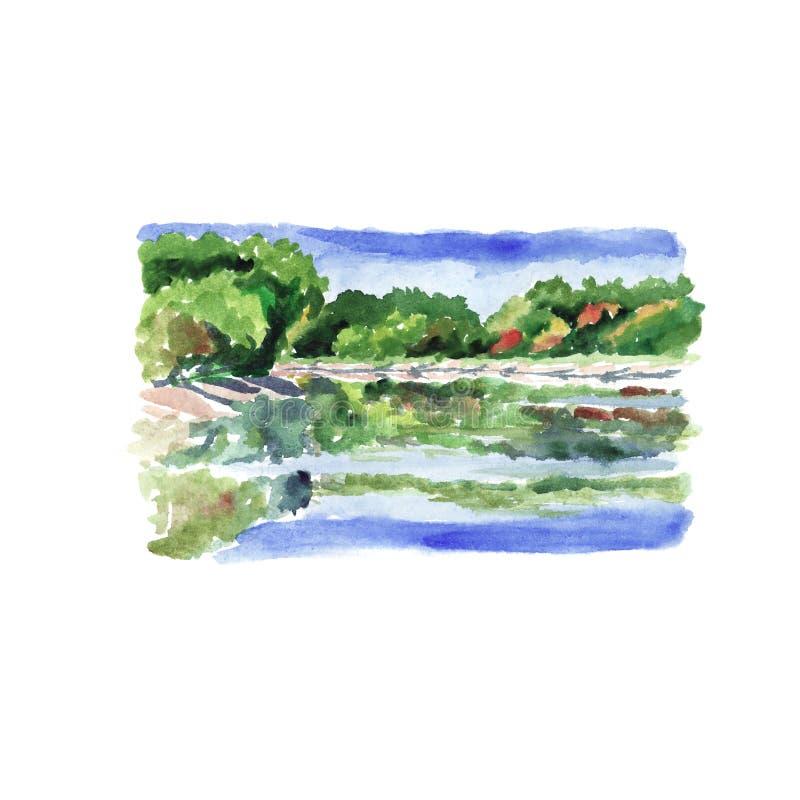 L'eau de réflexions de paysage de rivière - croquis d'aquarelle illustration libre de droits