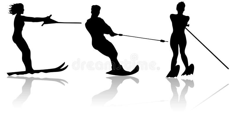 l'eau de skieurs illustration de vecteur