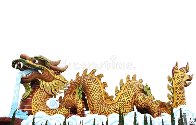 L'eau de soufflement de dragon impérial chinois d'or images stock