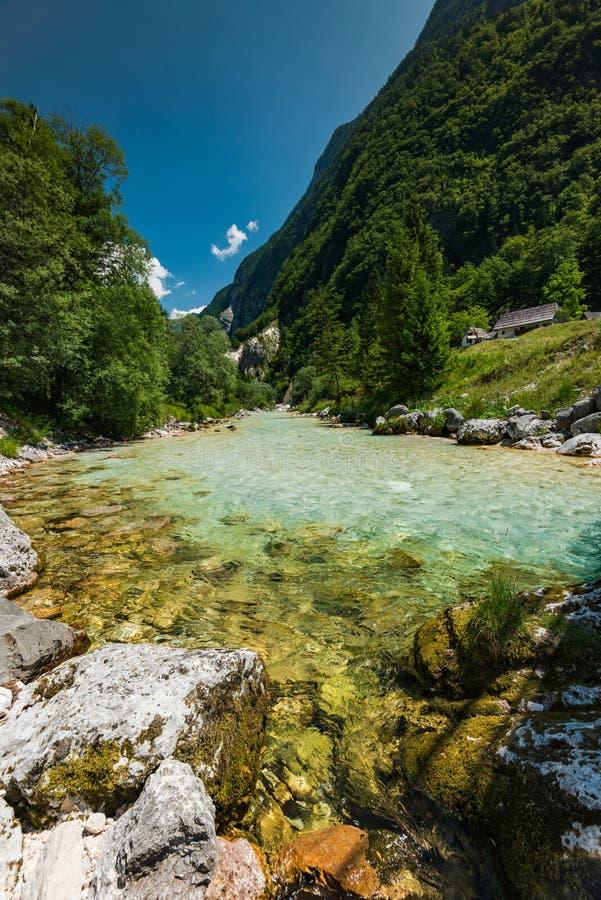 L'eau de turquoise en rivière de Soca, Slovénie image stock