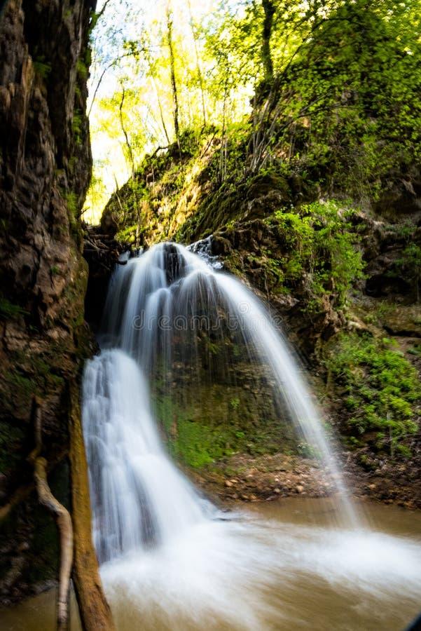 L'eau du courant tombant en bois photos libres de droits