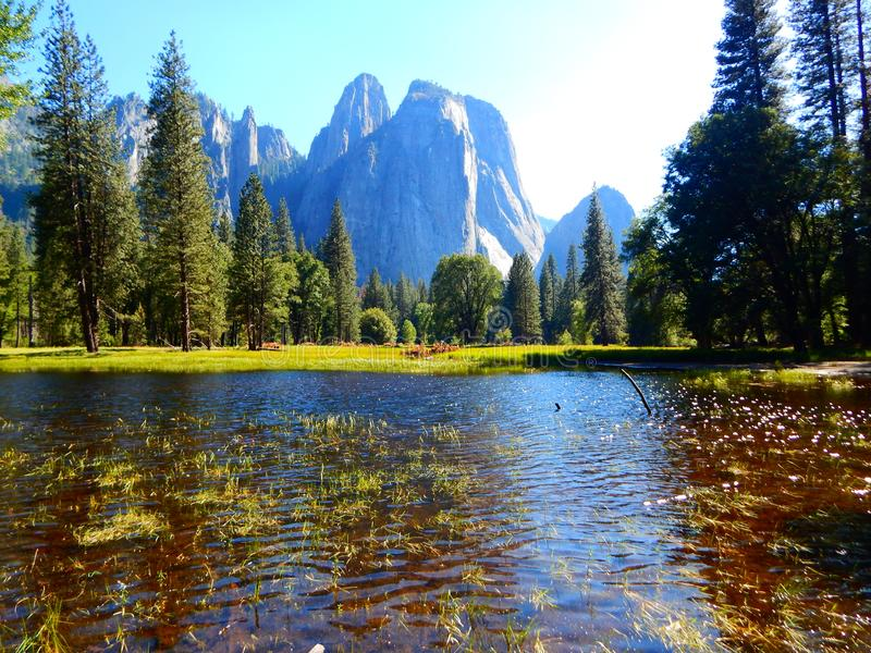 L'eau en parc national de Yosemite photos stock