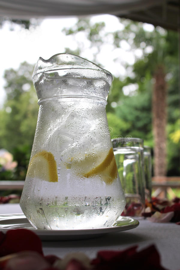 L'eau en verre de cruche image libre de droits