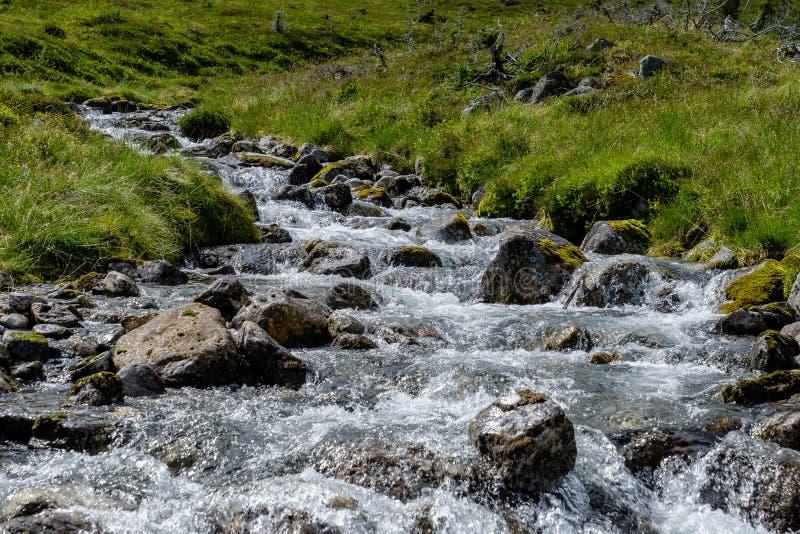 L'eau entrant en bas d'un flanc de montagne dans la Norvège photos libres de droits