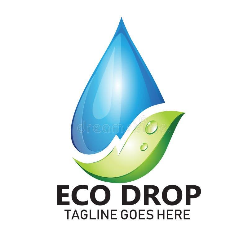 L'eau et la feuille dirigent le logo pour les symboles naturels et l'eau propre de santé illustration de vecteur