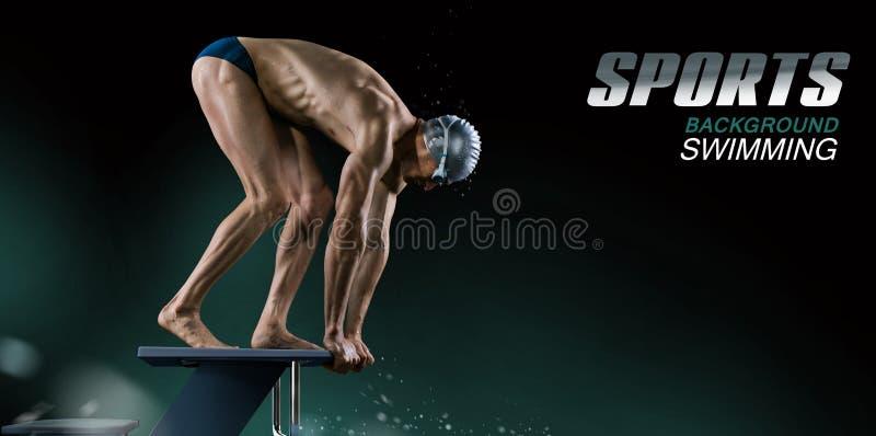 L'eau et parapluies Nageur musculaire prêt à sauter photographie stock libre de droits