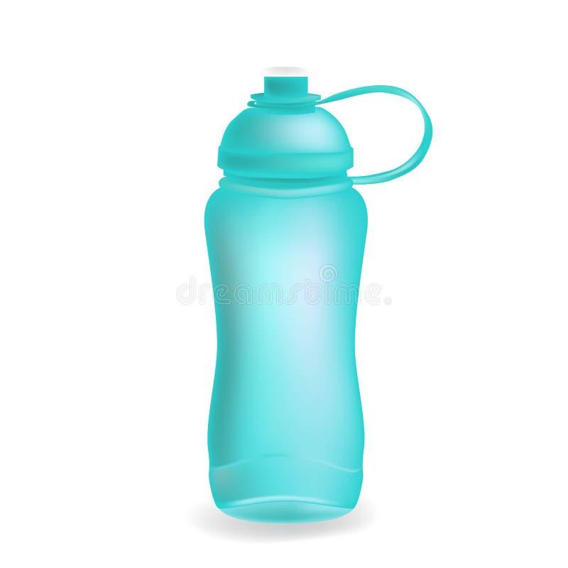 L'eau fol?tre de sport de vecteur bleu de bouteille a mis la boisson thermo et l'ensemble en bouteille sportif de boisson en plas illustration libre de droits