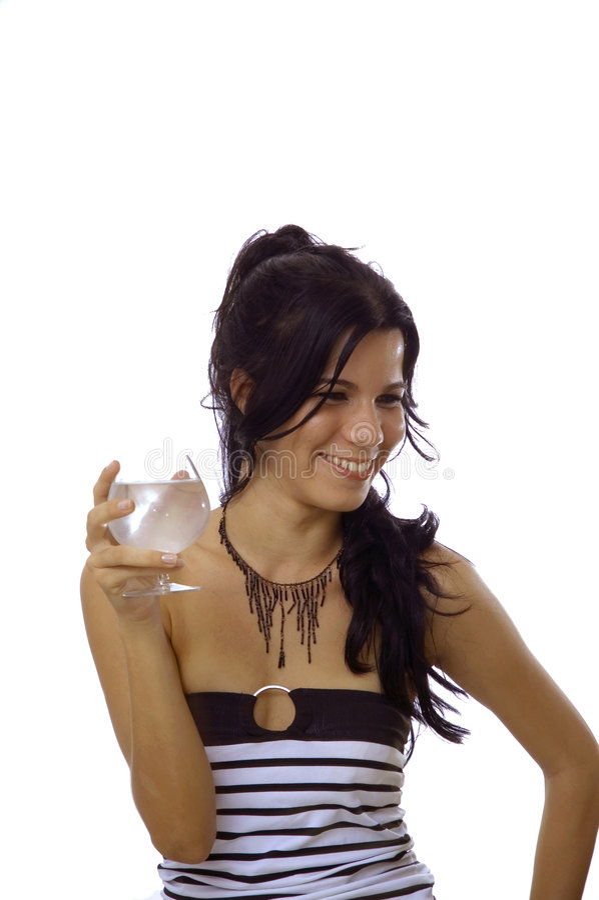 l'eau heureuse potable de fille photos stock
