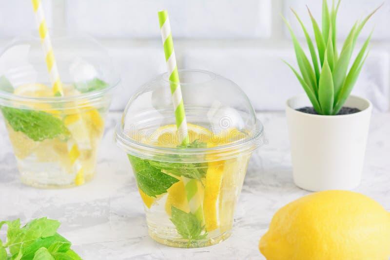L'eau juteuse de nettoyage fraîche de Detox de feuille de menthe de citron image stock