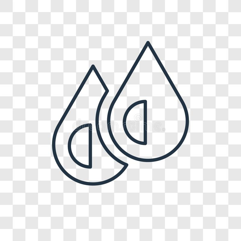 L'eau laisse tomber l'icône linéaire de vecteur de concept d'isolement sur b transparent illustration libre de droits