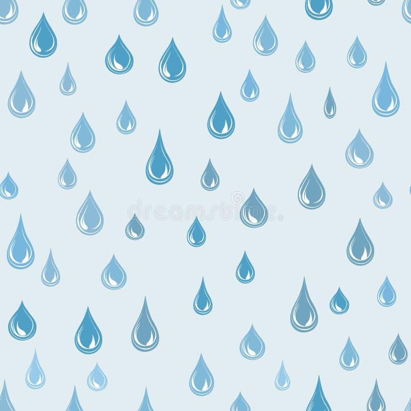 L'eau laisse tomber le modèle sans couture Fond de goutte de pluie Texture de pluie illustration stock
