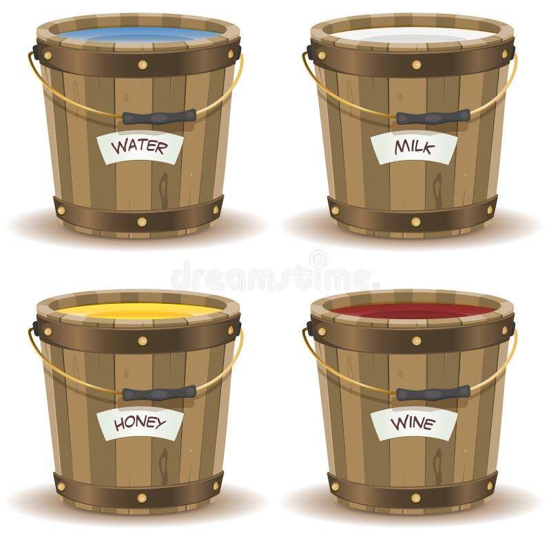 L'eau, lait, seau de Honey And Wine Inside Wood illustration stock