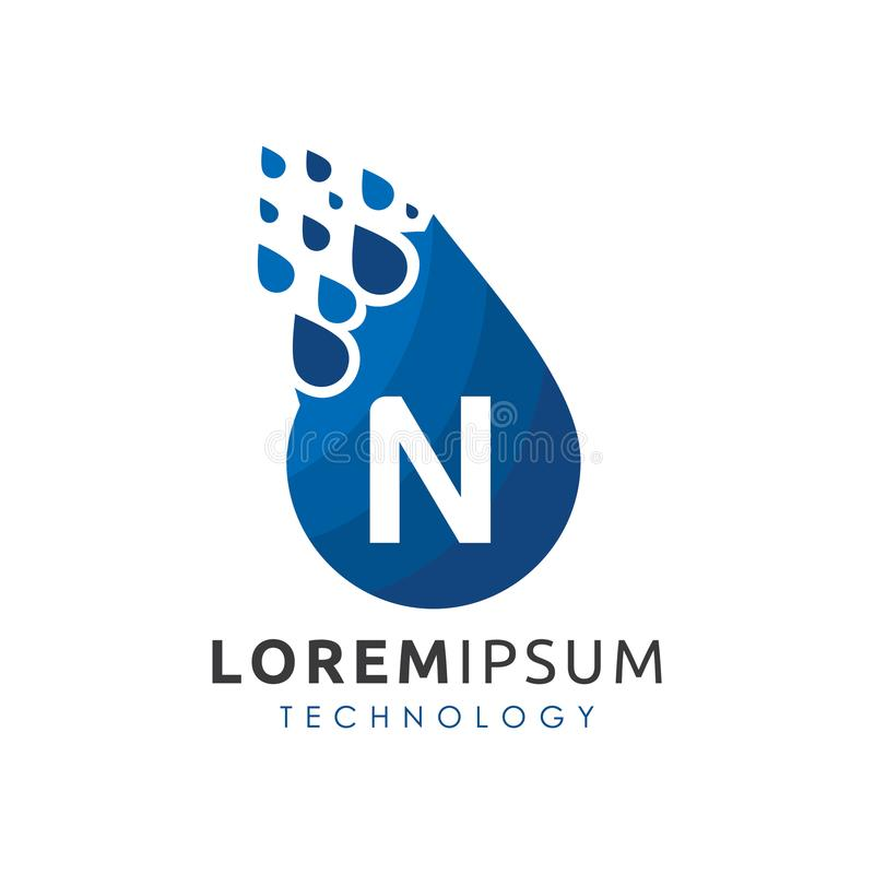 L'eau Logo Vector de baisse de la lettre N illustration de vecteur