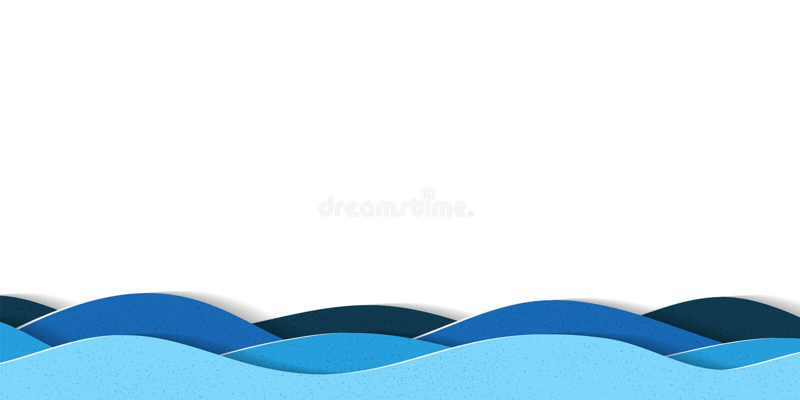 L'eau ondule le fond avec l'espace de copie Illustration multicouche abstraite de papercut de bande dessinée illustration stock