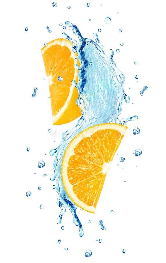 l'eau orange d'éclaboussure photos stock