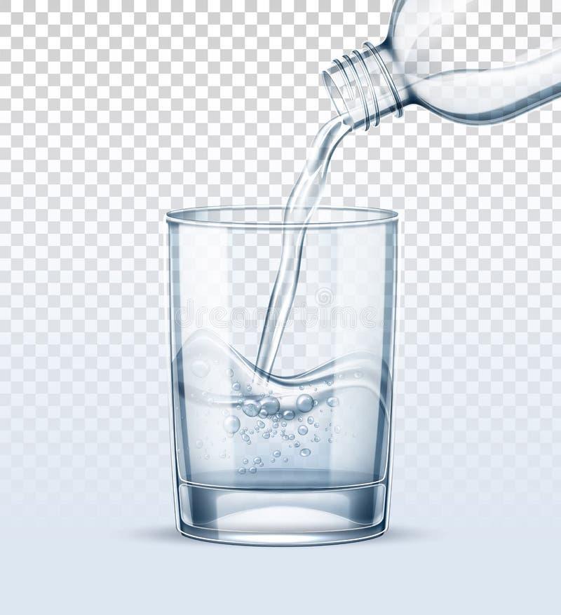 L'eau pure de vecteur versant dans la tasse en verre réaliste illustration stock