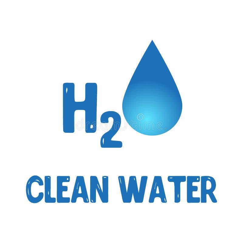 L'eau relâche H2O formé sur le fond bleu Illustration de vecteur illustration de vecteur
