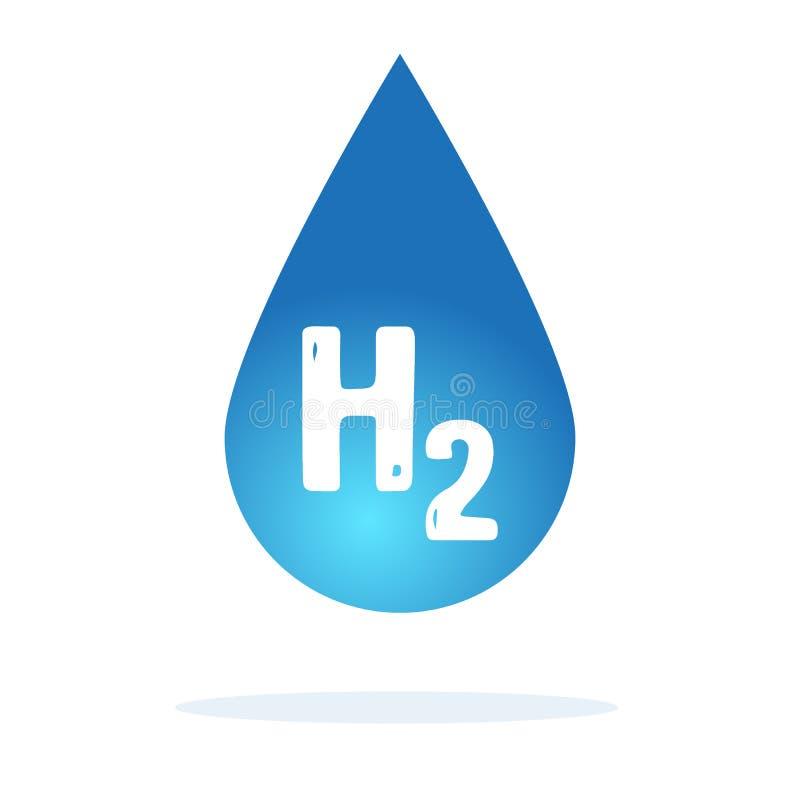 L'eau relâche H2O formé sur le fond bleu Illustration de vecteur illustration stock