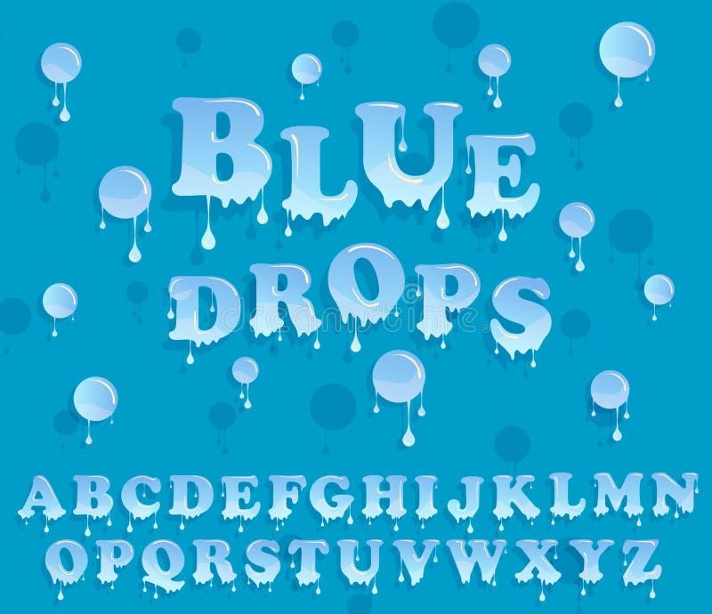 L'eau relâche l'alphabet Conception brillante d'en-tête de lettre illustration libre de droits