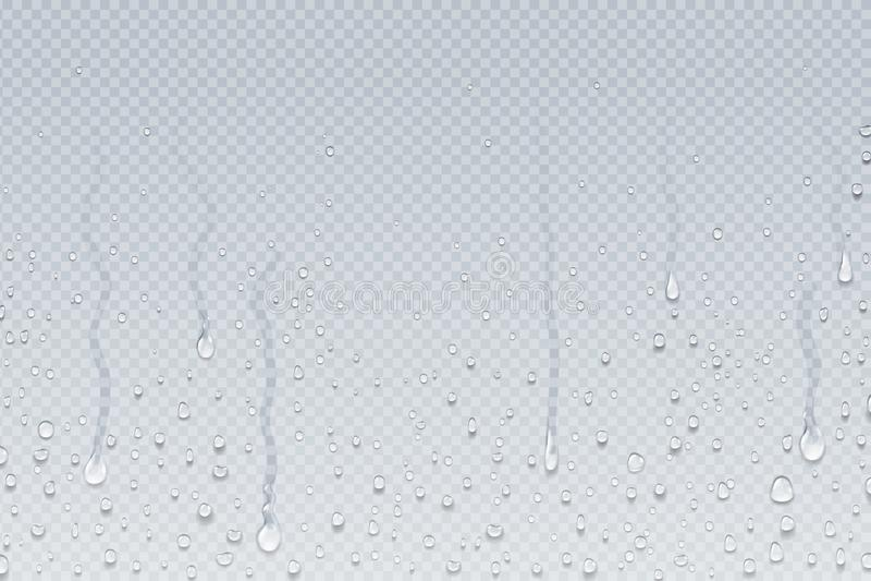 L'eau rel?che le fond Égouttements de condensation de vapeur de douche sur le verre transparent, baisses de pluie sur la fenêtre  illustration libre de droits