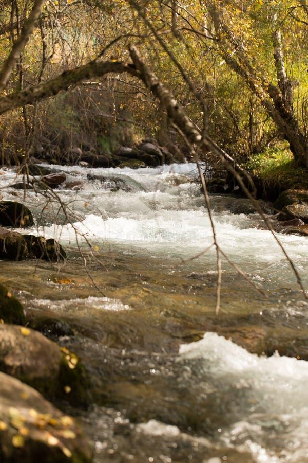 L'eau rugueuse dans l'eau de rivière de montagne comme fond image libre de droits