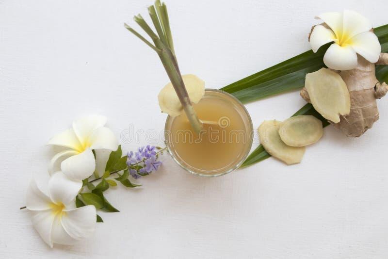 L'eau saine de fines herbes de cocktail de styrup de gingembre de boissons image libre de droits