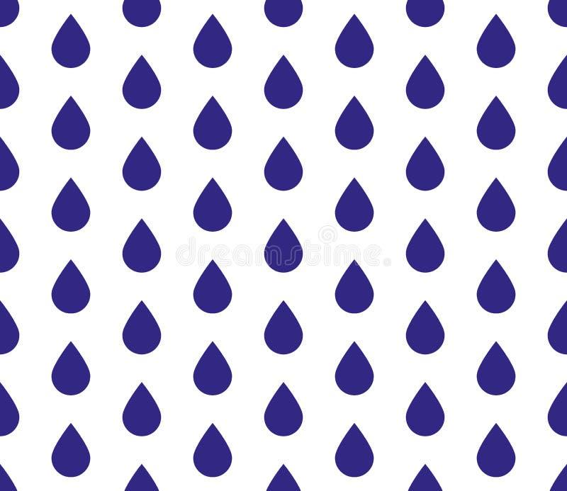 L'eau sans couture laisse tomber le fond Illustration de vecteur de temps pluvieux de goutte de pluie illustration stock
