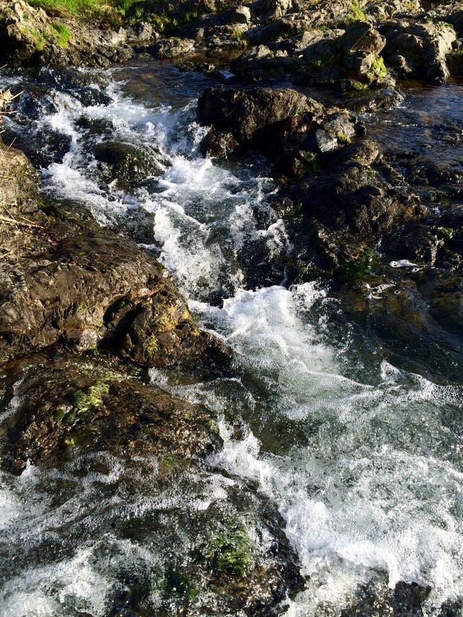 L'eau se précipitant au-dessus des roches photo stock