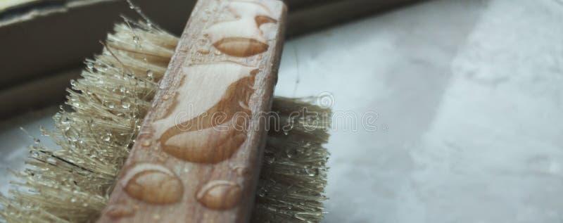 L'eau sur une brosse de frottement illustration stock