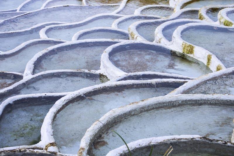 L'eau thermique dans Egerszalok La colline de chaux Bassins en terrasse naturels minéraux image libre de droits