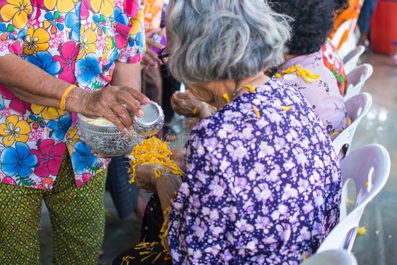 L'eau versant aux personnes ?g?es dans la tradition de festival de Songkran de la Tha?lande photos libres de droits