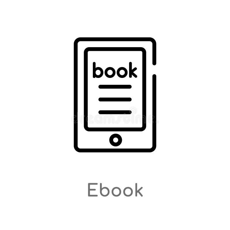 l'ebook d'ensemble dirigent l'icône ligne simple noire d'isolement illustration d'élément de concept de littérature ebook editabl illustration de vecteur
