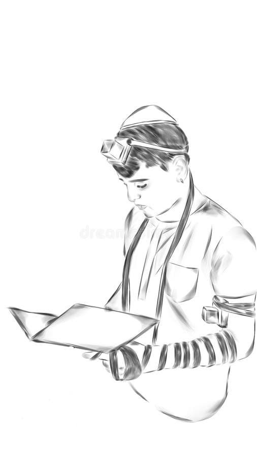 L'ebreo mette sopra il tefillin illustrato fotografie stock