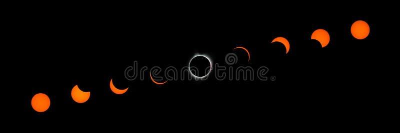 L'eclissi solare totale sincronizza Timelapse immagini stock