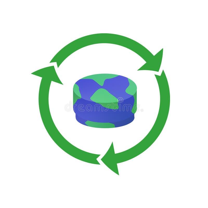 L'ecologia che ricicla l'animale domestico ricopre il contenitore di plastica dell'illustrazione di vettore royalty illustrazione gratis