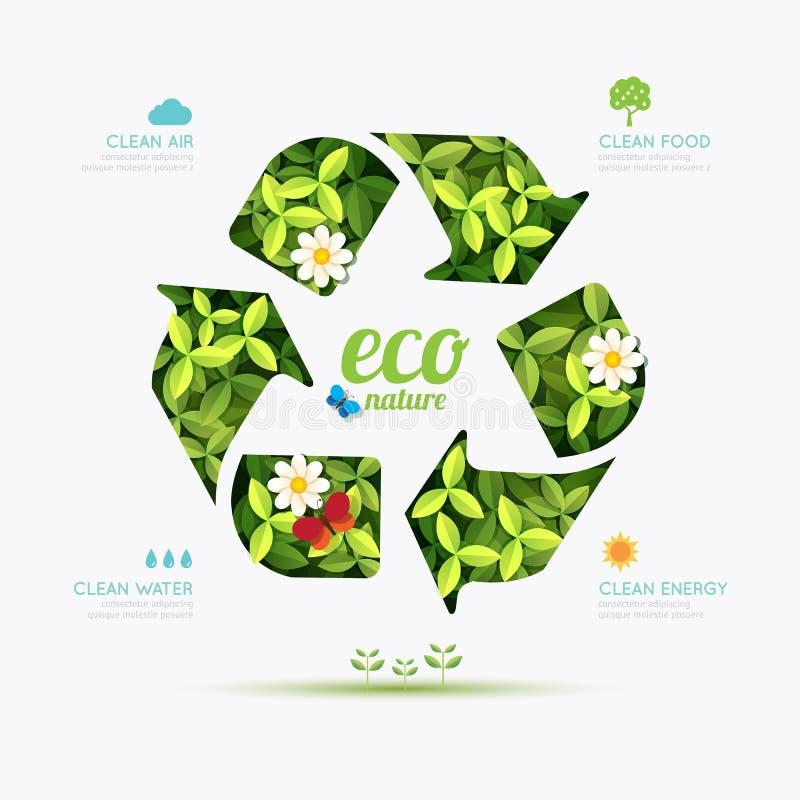 L'ecologia infographic ricicla la progettazione di forma di simbolo Salvo la natura illustrazione di stock