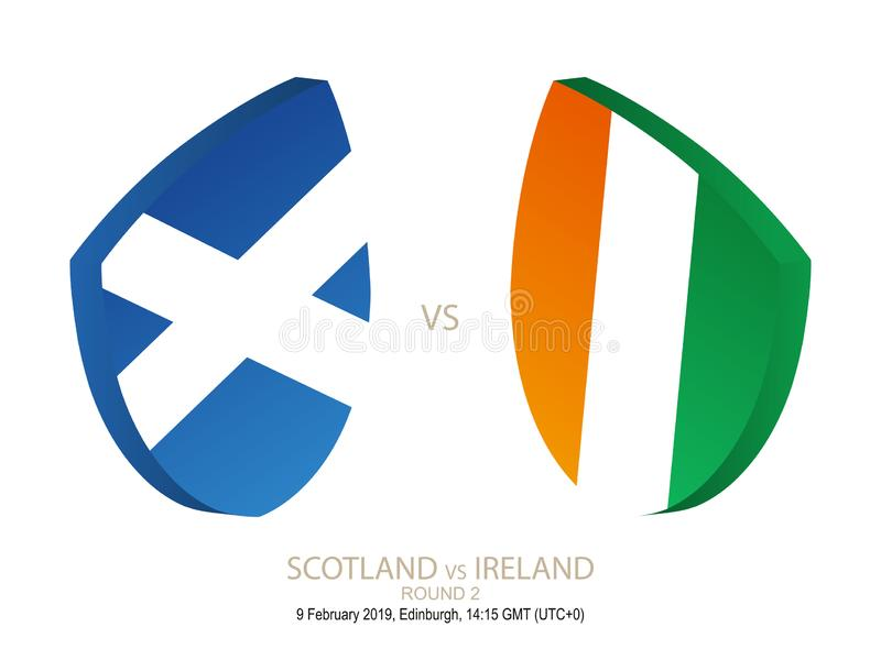 L'Ecosse contre l'Irlande, rugby 2019 six championnats de nations, rond 2 illustration de vecteur