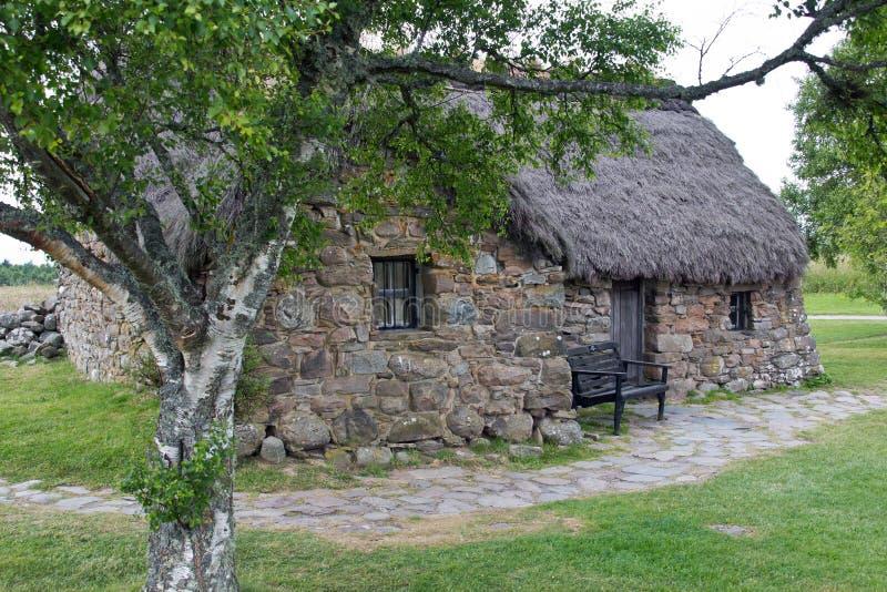 L'Ecosse, culloden, vieux cottage de leanach photographie stock libre de droits