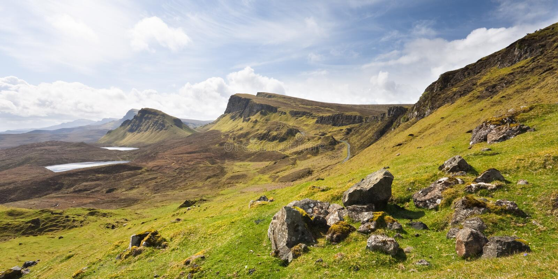 l'Ecosse-Le Quirang sur l'île de Skye image libre de droits