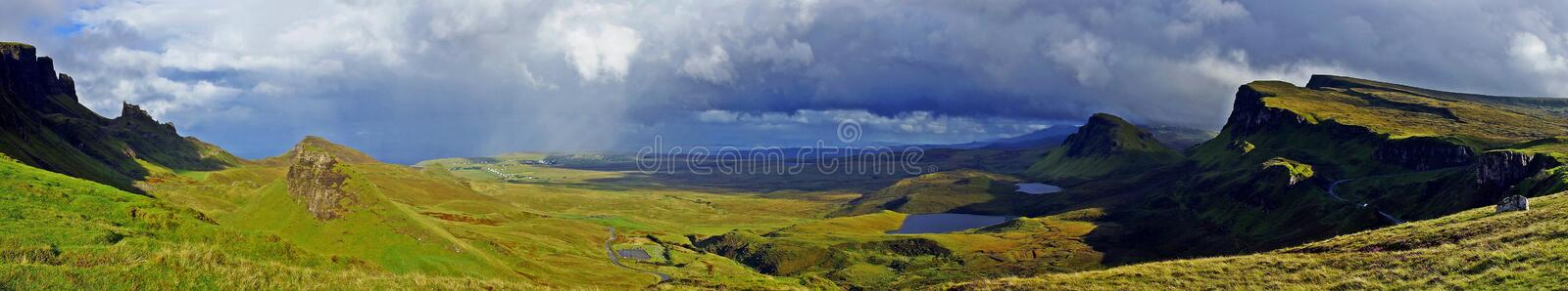L'Ecosse, panorama de Quiraing photos stock
