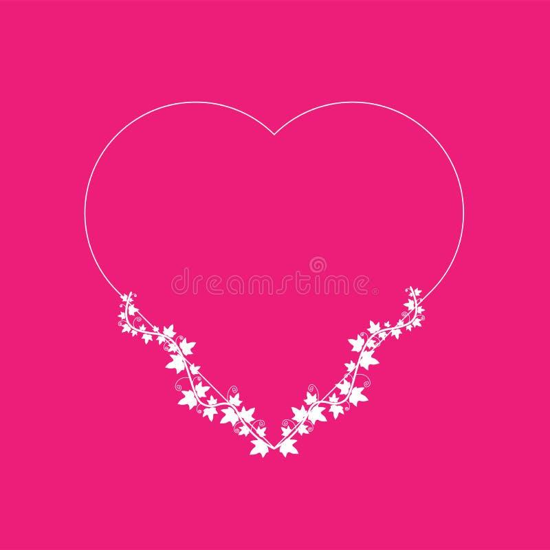 L'edera bianca è avvolta una struttura in forma di cuore Adatto ad invito, carte, blog, punti culminanti, dettagli di nozze Posto illustrazione vettoriale