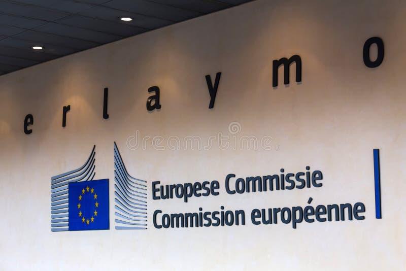 L'edificio di Berlaymont firma dentro Bruxelles Belgio fotografia stock