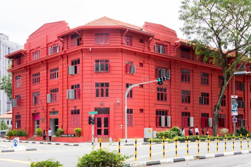 L'edificio rosso di Dot Traffic, strada di Maxwell, Tanjong Pagar, Singapore immagini stock libere da diritti