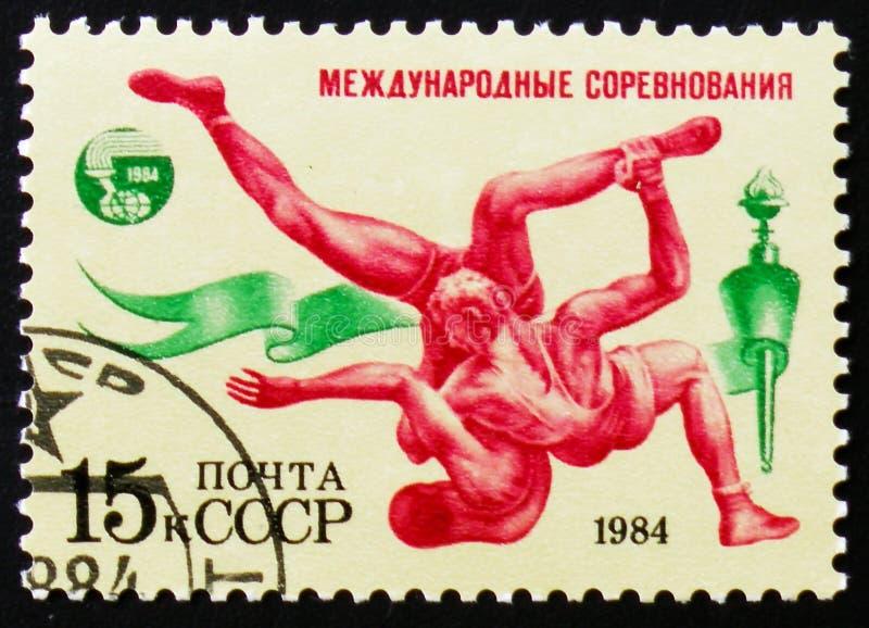 L'edizione delle competizioni internazionali Friendship-84 mostra lottare, circa 1984 fotografia stock libera da diritti