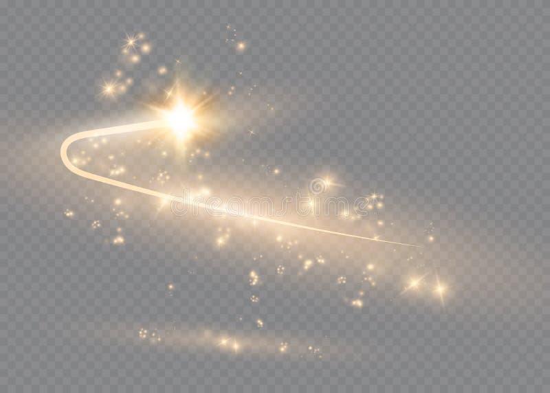 L'effet de la lumière d'étoile magique abstraite de lueur avec la tache floue au néon a courbé des lignes Traînée de scintillemen illustration de vecteur