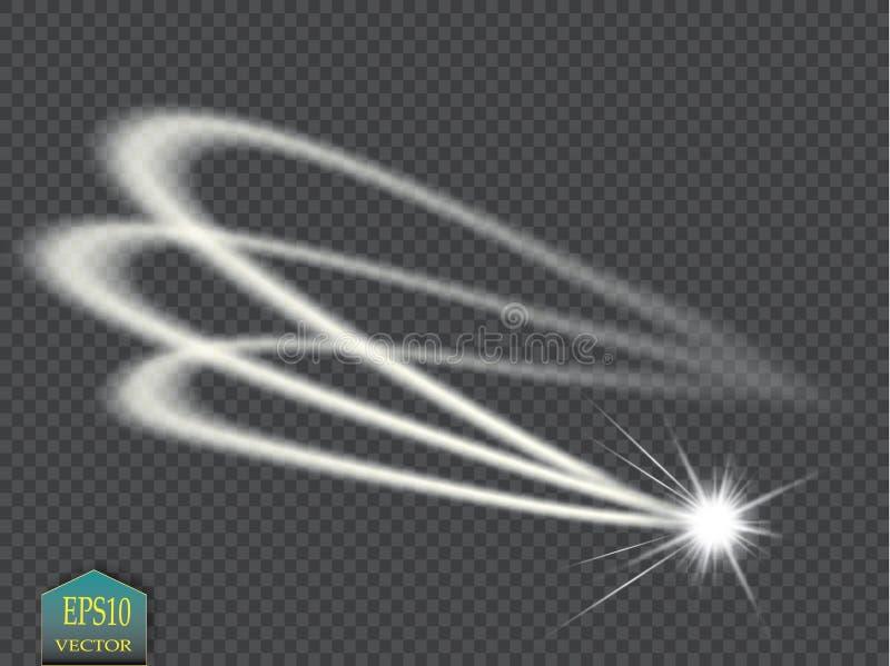 L'effet de la lumière de vecteur d'étoile magique abstraite de lueur avec la tache floue au néon a courbé des lignes Traînée de s illustration stock