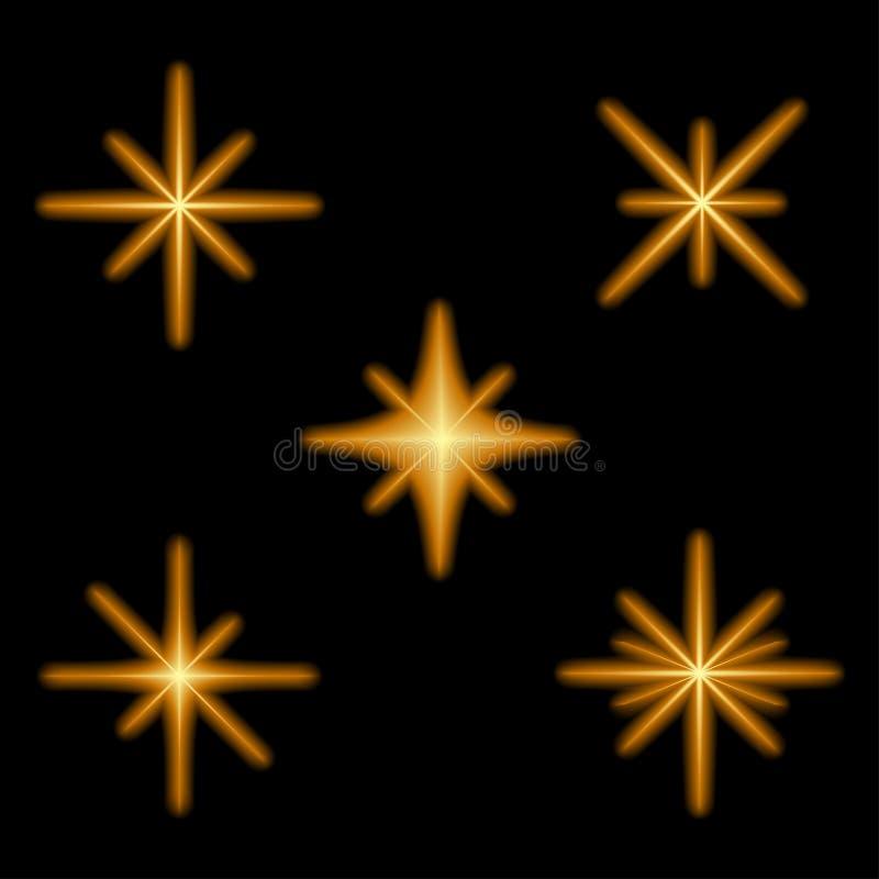 L'effet de la lumière rougeoyant tient le premier rôle des éclats avec des étincelles Le starburst magique au néon illuminé clign illustration de vecteur