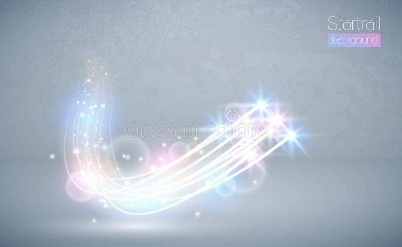 L'effet de la lumière de vecteur d'étoile magique abstraite de blanc chaud avec la tache floue au néon a courbé des lignes La len illustration stock