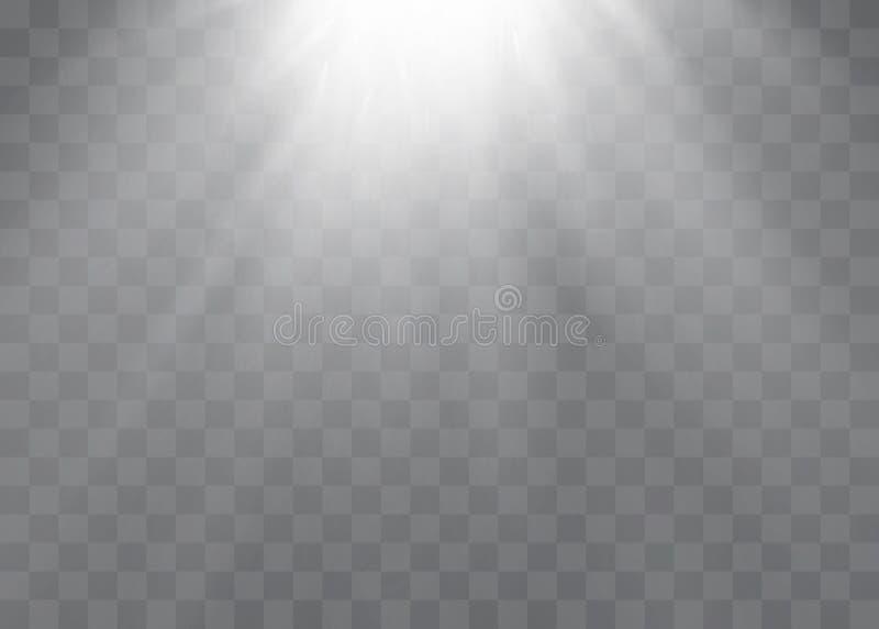 L'effet spécial de fusée légère avec des rayons de lumière et de magie miroite  illustration de vecteur