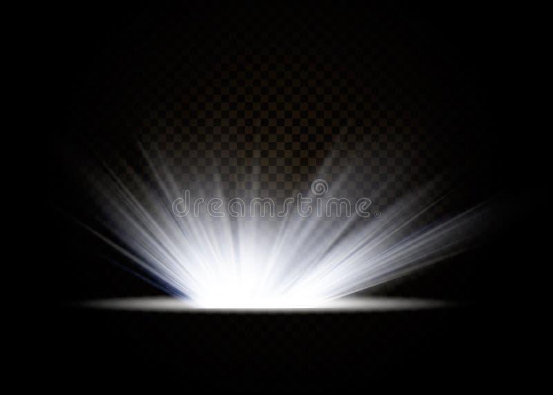 L'effet sp?cial de fus?e l?g?re avec des rayons de lumi?re et de magie miroite Ensemble transparent d'effet de la lumi?re de vect illustration de vecteur